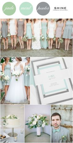 Mint + Jade + Gray Wedding Inspiration from Shine Wedding Invitations | Modern Wedding Invitations | Mint Bowtie | Gray Bridesmaids Dresses | White Bouquet