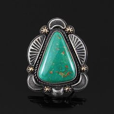 Wright's Indian Art: Triangular Turquoise Ring by Tommy Jackson
