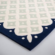 Seville Border Rug Mist, Ecru and Navy - Niki Jones Border Rugs, Bedroom Interiors, Seville, Hand Knotted Rugs, Kids Rugs, Colours, Traditional, Wool, Navy