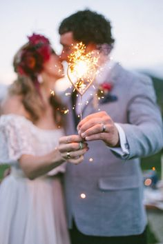 A heart sparkler: http://www.stylemepretty.com/colorado-weddings/littleton/2014/07/08/colorful-bohemian-wedding-inspiration/ | Photography: Sara Lynn - http://www.saralynnphoto.com/