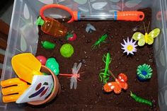 multiple sensory bin ideas- love them all- garden, ocean, construction, planting and arranging flowers, etc.
