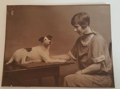 Antique cabinet card young girl and dog ? jack Russell terrier | eBay