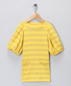 Yellow Stripe Tunic - Girls #zulily #zulilyfinds