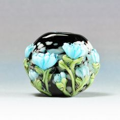 Handmade Lampwork Focal Bead Aqua Peony on Black Bead SRA by HallockGlass