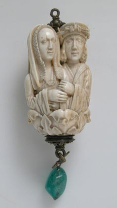 Rosary Terminal Bead with Lovers and Death's Head, ca. 1500–1525 Ivory, with emerald pendant, silver-gilt mount The Met