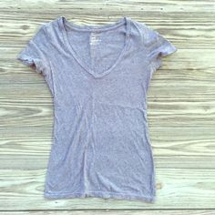 Solid Gray V-Neck T Great basic staple for your closet! So soft and comfy | NO TRADES, NO PAYPAL. Price firm unless bundled ❤️ American Eagle Outfitters Tops Tees - Short Sleeve