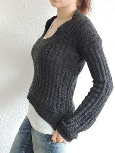Refashion: Strickkleid zu High-Low Pullover