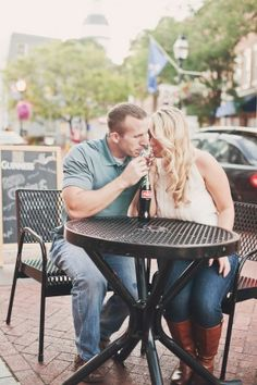 Sharing a glass-bottled Coke! This has to be one of my future engagement pics!