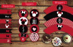 Banderitas para adorno. #Toppers (circulos) para usar con palitos brochette. Etiquetas (#wrappers) para #cupcakes  #minnie #rojo #kitminnie #kitnena #kitcumple