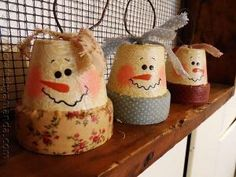 DIY Vintage Clay Pot Snowman Ornaments by SAburns