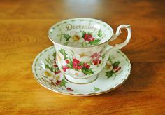 Royal Albert Christmas Rose December Footed Tea Cup and Saucer, Flower of the Month English Bone China Trillium Gainsborough Teacup