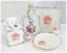 Shabby Art Boutique - Putting homemade back into everyday life! Cupcake Kitchen Decor, Kitchen Themes, Cupcake Shops, Cupcake Art, Custom Cupcakes, Love Cupcakes, Decoupage Vintage, Decoupage Paper, Tole Painting