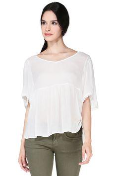 Top blanc oversize Boho Vero Moda sur MonShowroom.com