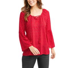 Faded Glory Women's Lace Up Bell Sleeve Blouse Product Comparison and Reviews