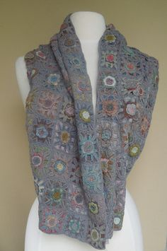 sophie digard #crochet scarf made of lovely multi-color crochet blocks