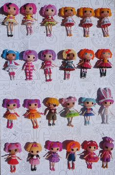 """""""My mini Lalaloopsy collection (outdated): I was lucky and found several that I had been looking for yesterday, but have still not found the newest series of re-releases. Also need to get Jewel from the Primping Party set and Berry from the Cook-off set. Not shown are my duplicates in boxes (2 easter girls and 2 or three others)."""" #lalaloopsycollection"""