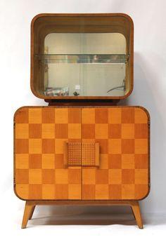 Atomic-Style Mid-Century Bar Cabinet by Halabala on Chairish.com