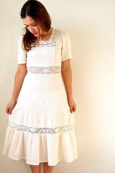 70s cotton & lace dress