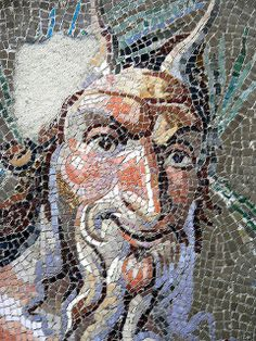 Closeup of Pavement mosaic depicting Pan Roman Antonine period 138–192 CE from a villa in Genazzano.
