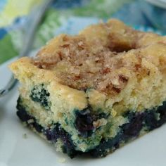 What is my new obsession with blueberry lemon? Blueberry-Lemon Coffee Cake: What goes perfectly with your cozy mug of coffee? A gooey sweet slice of this low-fat, lower-calorie skinny blueberry lemon coffee cake. Lemon Coffee Cake Recipe, Blueberry Lemon Coffee Cake, Blueberry Crumble, Blueberry Breakfast, Healthy Desserts, Delicious Desserts, Yummy Food, Healthy Blueberry Recipes, Healthy Baking