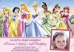 Disney Princess Birthday Party Invitation - Digital File