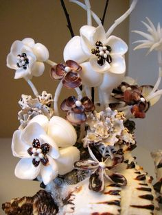 Chocolate Orchid Seashell Flower Sculpture / by SeaPosie on Etsy, $150.00