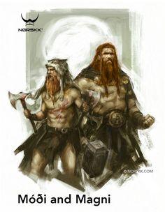 Modi e Magni eram os dois filhos de Thor Magni era filho da giganta Járnsaxa Modi, Coragem, Magni, Força, eram irmãos de Thrud, filho de de Sif. Thor, certa vez, enfrenta um gigante que cai derrotado sobre ele e ninguém consegue levantar, magnífico que tinha três noites de vida salva seu pai levantando a perna do gigante, ele e Modi seguiram com o Mjonir após a morte de seu pai