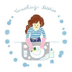 家事の中では洗い物が一番苦手だけど、終わったらスッキリするものナンバーワンでもあります。  #illustration #Drawing #kitchen #washingdishes