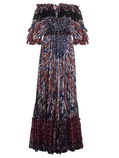 Etro Floral-print off-the-shoulder silk gown