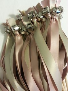 50 Wedding Ribbon Bell Wands ~ pick colors ~ Shown in Ballet & Biscotti  #DivinityBraid