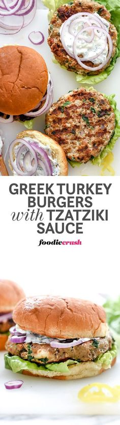 """Greek Turkey Burgers with Tzatziki Sauce Recipe via foodiecrush """"Turkey burgers made with the Greek flavors of garlic, oregano, spinach, sun-dried tomatoes and feta cheese are a healthful option for burger lovers everywhere. Burritos, Tostadas, Tacos, Greek Turkey Burgers, Turkey Feta Spinach Burgers, Greek Burger, Beef Burgers, Veggie Burgers, Beste Burger"""