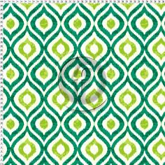 TS162 Ikat Ogee Green White