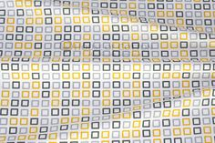 Algodón - Gray & yellow squares cotton fabric - hecho a mano por houseofcotton en DaWanda