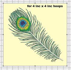 Strojové vyšívání design páv peří