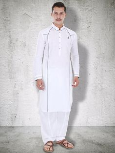 G3 Exclusive Linen White Festive Wear Solid Pathani Suit