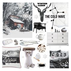 """""""Beary Cozy Winter Cabin"""" by theseapearl ❤ liked on Polyvore featuring interior, interiors, interior design, home, home decor, interior decorating, Lexington, Menu, Fetco and Jonathan Adler"""