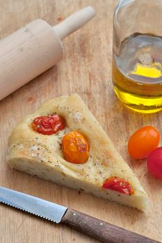 Focaccia with lovely red, orange and yellow tomatoes. So yummy!