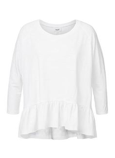Cotton/Polyester Ls Dipped Frill Tee. Comfortable yet neat fitting silhouette features a scoop neck, fitted long raglan sleeves with frill hem. Available in White as shown.