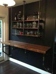 Wood Iron Industrial Shelve Bar/Top/Shelve Combo Shelf Storage Beer Wine Computer Desk Sold Together Bar & Shelve - Home Professional Decoration Diy Home Bar, Bars For Home, In Home Bar Ideas, Small Home Bars, Bar Shelves, Glass Shelves, Liquor Shelves, Pipe Shelves, Regal Design