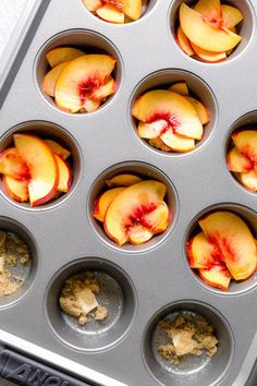 These super moist and tender peach upside down mini cakes are bursting with peaches in every bite. Easy to make, this recipe is a keeper for that indulgent peach season! Peach Cupcakes, Peach Cake, Rose Cake, Mini Desserts, Delicious Desserts, Mini Cakes, Cupcake Cakes, Peach Upside Down Cake, Peach Muffins