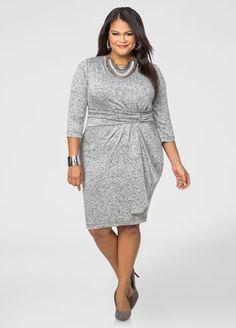 Ruffle Front Marled Sweater Dress Ashley Stewart