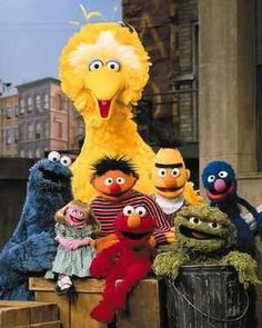 Sesame Street favorites; Bert and Ernie, Oscar the Grouch and Elmo :)