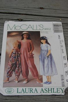 Vintage McCalls 4802 Laura Ashley Romper Jumpsuit Sundress Dress Sewing Pattern Copyright Childrens Todllers Kids Size 5 (CE) All pieces & Instructions present. Laura Ashley Girls Dresses, Laura Ashley Kids, Laura Ashley Patterns, Childrens Sewing Patterns, Sewing For Kids, Laura Ashley Jumpsuit, 80s And 90s Fashion, Ladies Fashion, Ashley Clothes