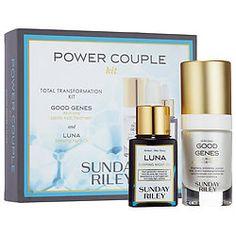 Sephora-Exclusive🚺 SUNDAY RILEY Power Couple Duo: Total Transformation Kit💝🎄🎁0.5 oz Good Genes Treatment  - 0.5 oz Luna Sleeping Night Oil
