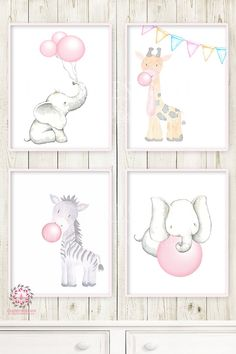 4 Zoo Elephant Giraffe Zebra Pink Bubble Gum Wall Art Print Baby Nursery Ethereal Whimsical Animal Set Lot Prints Printable Decor - Decor Home Safari Nursery, Girl Nursery, Giraffe Nursery, Baby Prints, Wall Art Prints, Animal Art Prints, Invitation Baby Shower, Forest Cafe, Pink Forest