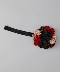 Black & Red Satin Bouquet Headband