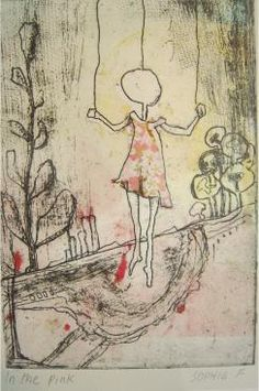 In the pink, etching with chin-colle, by Sophie Fordham