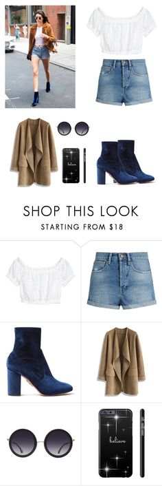 """""""outfit for Kendall Jenner!"""" by rumaisa-hadia ❤ liked on Polyvore featuring H&M, Raey, Aquazzura, Chicwish and Alice + Olivia"""