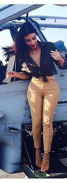 Check out Kim's accessories she brought on board the US marine ship.