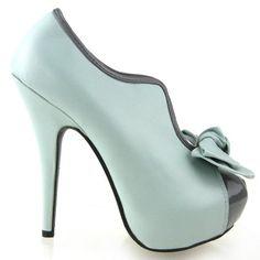 c758c55509db3 Show Story Vintage Aqua Two Tone Bow Platform Stiletto High Heel Ankle Boots